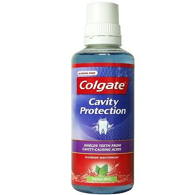 Colgate Cavity Protection Fluoride Mouthwash Herbal Mint 400ml Alcohol Free
