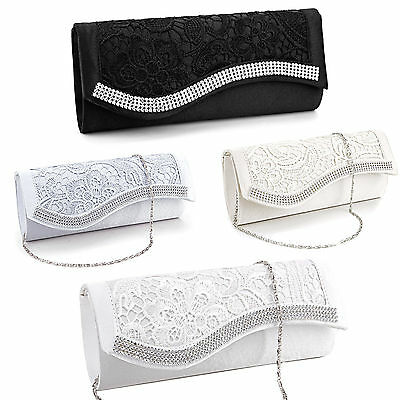 Ladies Floral Lace Satin Crystal Handbag Wedding Bridal Clutch Evening Party Bag