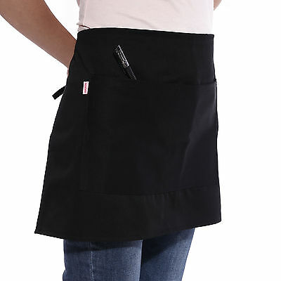 Black Short Waist Bistro Pocket Apron for Bar Cafe Pub Waiter Waitress Barista