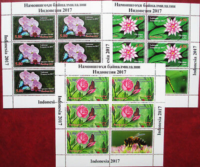 Tajikistan  2017  Flowers Rose Orchid Lotos Insects Butterflies 3 M/S perf  MNH