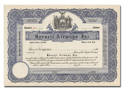 Hornell Airways Inc. Stock Certificate (New York)