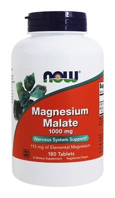 Now Foods Magnesium Malate 1000mg 180 Veggie Tabs, Nervous System Support Energy