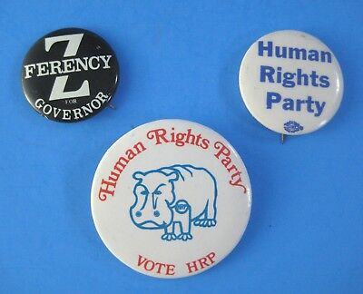 Vintage 1970s Human Rights Party Pins Pinback Buttons Zolton Ferency Ann Arbor
