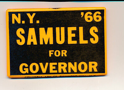 """1966 Samuels for governor New York NY 3"""" campaign button"""