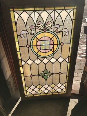 Sg 1566 Antique Stainglass Jeweled Landing Window 28.25 X 48.5