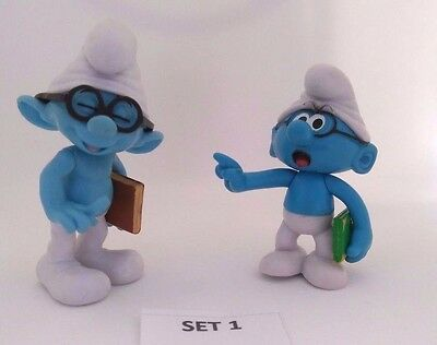 """Smurf Figures Pack of 2 Smurfs Smurfette Toys Cake Toppers. 3"""" Tall UK SELLER"""