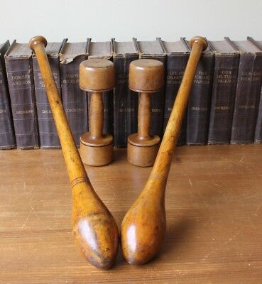Antique Wood Indian Clubs Meels. Exercise Dumbbell Weights. Home Decor. Gym Prop