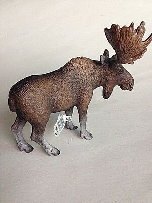 """Schleich 5"""" Long Moose Bull # D-73508, Am Lines 69, with Original Tag"""