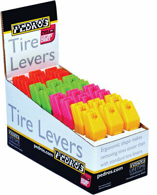 Pedro's Tire Levers 24x2 Pack 4 Color Tire Lever Counter Display, Red, Pink, Gre