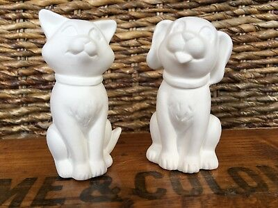 Paint Your Own Pottery Cat & Dog Ceramic Ornaments Lovely Craft Gift