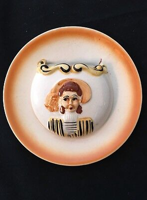 Vintage Wall Pocket Round Girl With Hat White Orange Yellow Black 6 1/4""