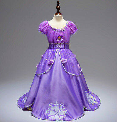 US STOCK ! Gorgeous Sofia The First Costume Girls Princess Dress Gown 3-10 k107