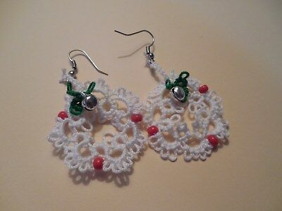Tatted Wreath White Earrings 1 inch Red Beads Christmas Tatting by Dove Country