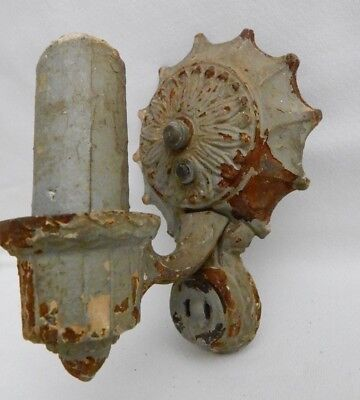 Antique Victorian Art Deco Cast Iron Wall Light Sconce Fixture with Outlet -RARE