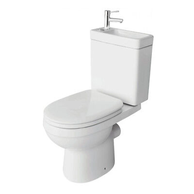 All In One Bathroom Dual Toilet & Basin Sink Combination Cloakroom Set Inc Tap