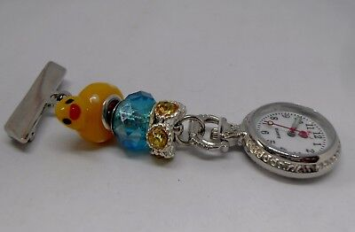 Cute Yellow Duck Analog Fob Watch for Nurses, Carers, Beauticians and Vets