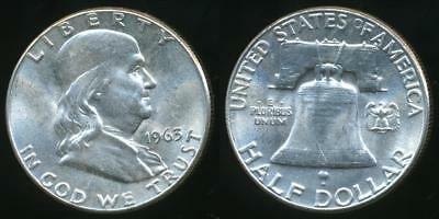 United States, 1963 Half Dollar, Franklin (Silver) - Uncirculated