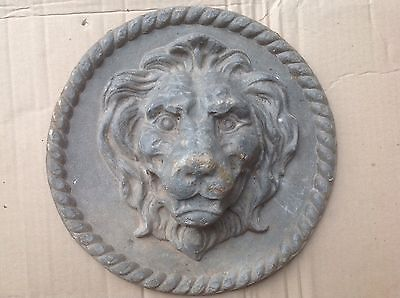 Antique  Lead Lion Head Wall Plaque. Excellent Condition