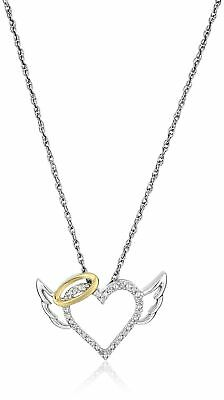 Sterling Silver and 14k Yellow Gold Diamond Winged Halo Heart Pendant Necklac...