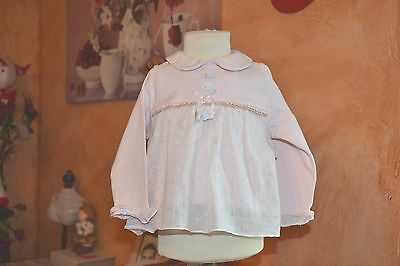 blouse baby dior 18 mois  rose double voile dessus fleurs ruban superbe