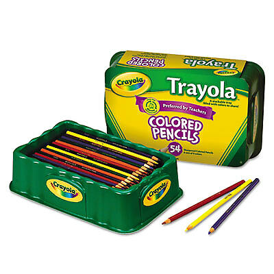 Colored Wood Pencil Trayola, 3.3 mm, 9 Assorted Colors, 54 Pencils/Set 68-8054