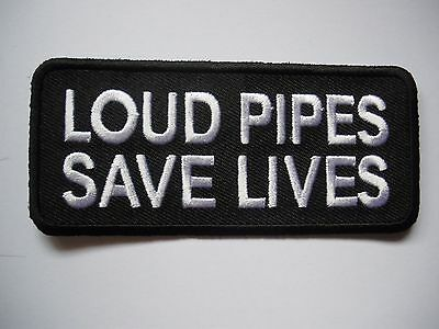 Loud Pipes Save Lives - Patch Sew/Iron - Rider biker Men's Shed Motorcycle Vest