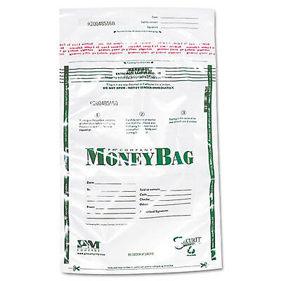 Plastic Money Bags, Tamper Evident, 9 x 12, Clear, 50/Pack 58019