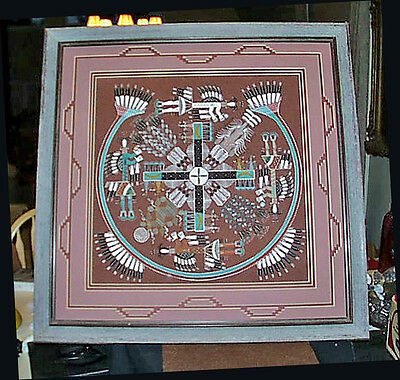 1994 Rosabelle Ben Navaho Wedding Ceremony Whirling Logs Framed Sand Painting