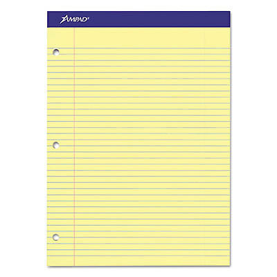 Double Sheets Pad, College/Medium, 8 1/2 x 11 3/4, Canary, 100 Sheets 20-223