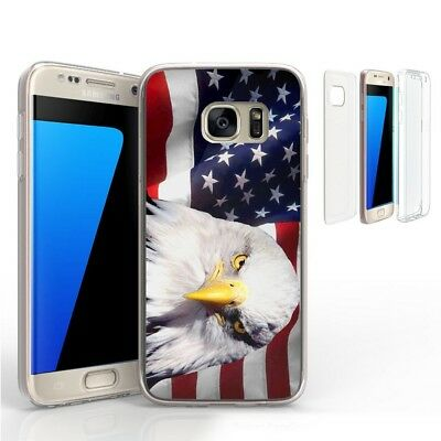 For Galaxy S7 G930 Transparent Full Body 360 Protector Case Bald Eagle USA Flag