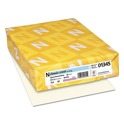 CLASSIC CREST Writing Paper, 24lb, 8 1/2 x 11, Natural White, 500 Sheets 01345
