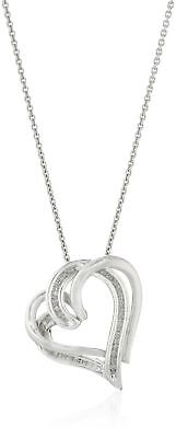 """Sterling Silver and Diamond Double-Heart Pendant Necklace (1/10 cttw) 18"""""""