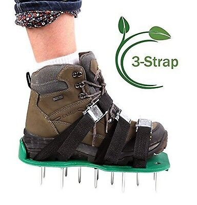 Ohuhu Lawn Aerator Shoes/ Metal Buckles & 3 Straps - Heavy Duty Spikes for Ae...