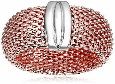 Gold-Plated Sterling Silver Flexible Mesh Ring rose-gold-plated-silver 8