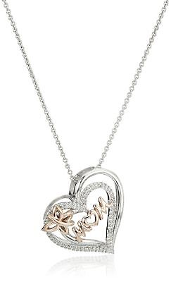 14k Rose Gold-Plated Sterling Silver Mom and Butterfly Heart Pendant Necklace...