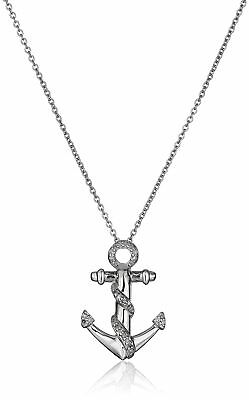 """Sterling Silver Diamond-Accented Anchor Pendant Necklace (1/10 cttw) 18"""""""