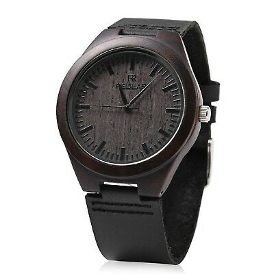 REDEAR Mens Quartz Bamboo Watch Wooden Leather Band Water Resistance Analog D...