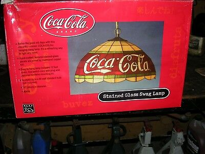 coca cola tiffany swag stained glass hanging light 18 inch alsy 1990's NEW  D656