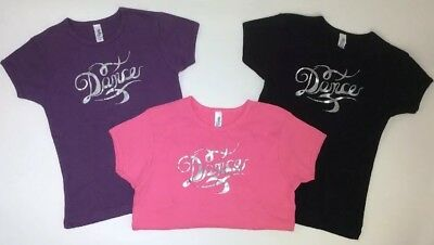 "Bella Girl ""Dance"" T-shirt Purple, Pink, Black With Silver Vinyl Youth Dancer"