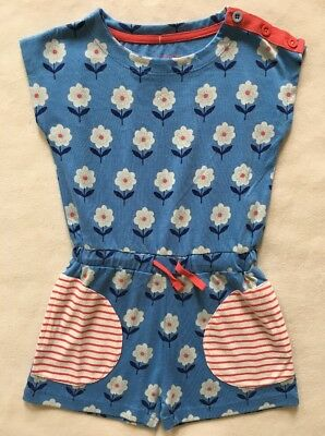MINI BODEN Girls Jersey Romper Shorts Blue Flowers NWT $37 SIZE 3-4 9-10 YEARS