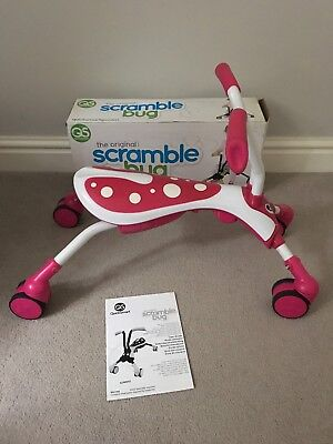 Scramble Bug Ride On Toy Pink & White Candy