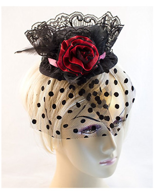 Linda Ann's Red/black Ruffled Flower,Lace,Dot Tulle Mini Top Hat/hair Clip 4""