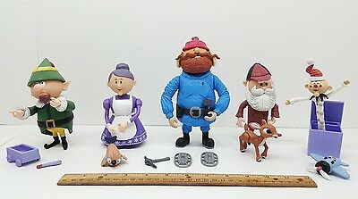Lot of 6 Rudolph & The Island Of Misfits - Yukon Santa Mrs Claus Charlie Elf