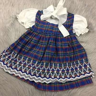Vintage Baby Girls Blue White Plaid Embroidered Tie Dress