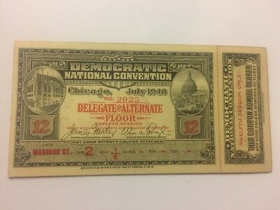 1940 Democratic National Convention Delegate Full Ticket Franklin Roosevelt FDR