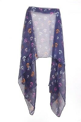 Nautical Ladies Navy / Colorful Anchor Print Statement Scarf Unique (S224)