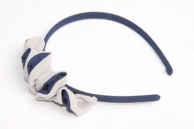 Navy Blue & Beige Alice Band Feminine Headband W Pretty Ruffle Details (s144)