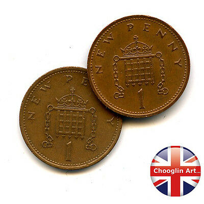 A pair of 1971 British Bronze ELIZABETH II One new penny coins