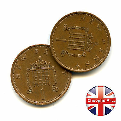 A pair of 1978 British Bronze ELIZABETH II One new penny coins