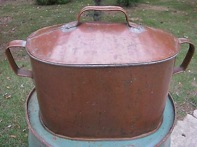 ANTQ HANDCRAFTED SOLDERED COPPER KETTLE VESSEL BROILER CAULDRON w/STRAP HANDLES*